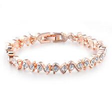 Women Noble Jewellery 18ct 18K Rose Gold Plated S Type Austrian Crystal Bracelet