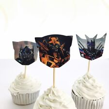 12x Transformers Food Cupcake Food Topper Pick Party Supplies Lolly Loot Bag