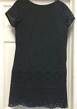 Patrizia Pepe Solid Black Linen Mini Dress Boat Neck Size 44 M