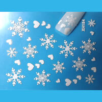 Christmas Nail Art Stickers Decals White Snowflakes Glitter Hearts (184)