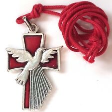 Holy Spirit Medal  Confirmation  Red and Silver  Gift Medal 1 1/2 inch Italy