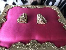 Betsey Johnson Fashion Fever Disco Vintage Gold Glitter Diamond Outline Earrings