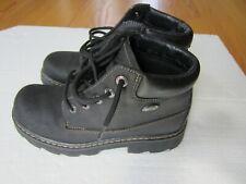 Vtg 90s Skechers Black Leather Hikers Ankle Boot Us 8 Uk 5