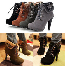 Ladies Stiletto High Heel Platform Lace Up Faux Suede Lace Up Buckle Ankle Boots