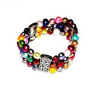 BRACELET Stretch Lots Of Colors 3 Strands FRESHWATER PEARLS
