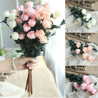 6 Head Artificial Rose Bouquet Silk Fake Flowers Wedding Party Home Decorations
