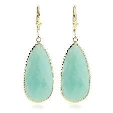 14k Yellow Gold Pear Shaped Amazonite Gemstone Dangling Earrings