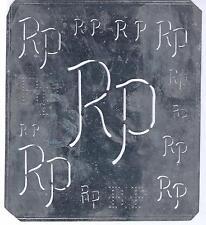 Große Monogramm Schablone  RP  Jugendstil Weißblech 16,5 x 18 cm Weissstickerei