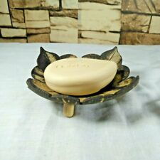 Wooden Soap Dish Holder Square Shaped Coconut Shell Wood Handmade Bathroom