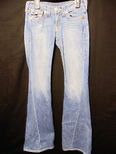 "TRUE RELIGION Joey Big T Womens Denim Blue Jeans Sz 28 (W 30 x I-34"") Flare Leg"