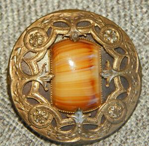"Antique Vtg Gay 90's Button Slag Glass Center~Aprx:1-3/4""~#1207-F"