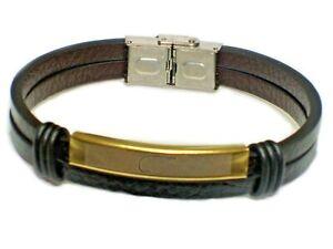 New Leather Bracelet Fashion Unisex Wristband Black With Golden Charm UK Seller
