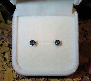 Unique natural Indigo Purple Blue Spinel 4.5mm sterling silver stud earrings ⛎