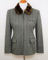 RALPH LAUREN Women's 4 P - BLACK & WHITE WOOL TWEED KNIT JACKET COAT  - FAUX FUR