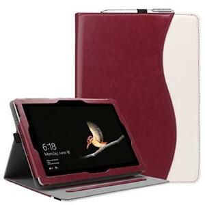 """Microsoft Surface Go 10"""" Case PU Leather Stand Cover Card Pocket Burgundy/White"""