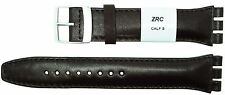 ZRC 19mm (22mm) Size Leather Strap Compatible for Swatch® Watch Brown 6431903