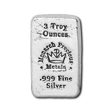 1  - 3 oz. 999 Fine Silver Bar - Monarch - Hand Poured - Uncirculated