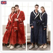 Men's Women's Warm Cosy Winter Dressing Gown Flannel Long Bath Robe Bathrobe NEW