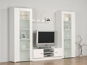 Wohnwand Schrankwand Anbauwand Weiß / Milchglas - Breite 259 cm