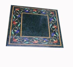 "18"" Green marble table top handmade semi precious stones floral art inlay work"