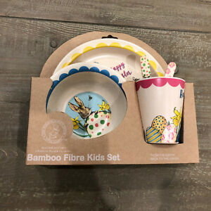 Beatrix Potter Peter Rabbit Bambooware 5pc Kid Plate Bowl Cup Fork Spoon Set NEW