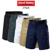 Mens Hard Yakka Generation Gen Y Cotton Cargo Drill Shorts 2PK Work Tough Y05500