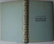 Schriften fur Deutschland Paul de Lagarde Alfred Krone Verlag avec tampon 1933