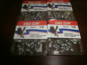 EAGLE CLAW UNPAINTED JIGS 200 COUNT IN 1/8 OUNCE