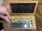 antique Brass weights Wood Box Pharmacy jewelry store profession rare