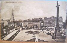 Vintage Postcard Trafalgar Square Nelson Column London England Uk Matte 1924