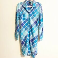 Moda International Womens Size 10 Shirt Dress Plaid Blue 100% Linen Work