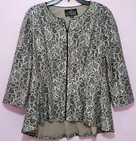 Alex Evenings Women's Lace Peplum Jacket sz XL Dressy Zip Front Top Black Silver
