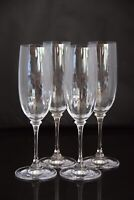 Set of 4, clear crystal champagne flutes , illusion glass