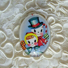 Cute Snow Couple 30X40mm Glitter Unset Handmade Glass Art Bubble Cameo Cab
