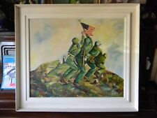 Vintage Original IWO JIMA WWII WW2 Oil PAINTING by Henry Willems 1950's