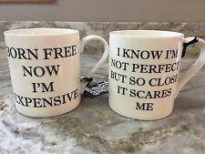 Large Coffee Mug Set. Born Free And Not Perfect. White And Black. New.
