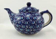 Bunzlauer Keramik Teekanne, Kanne für 1,3Ltr. Tee, Blumen, blau/weiß (C017-J109)