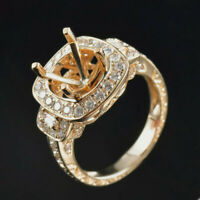 Vintage Round 9mm Natural Diamond Semi Mount Ring Setting Solid 14K Yellow Gold