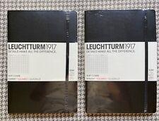 Set/2. NEW Leuchtturm 1917 Notebook Medium A5 Squared-Black Softcover
