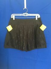 Women Black Pleate Lace Pocket Belt Loop Sexy Summer Casual Shorts M ? 8 ? 10 ?
