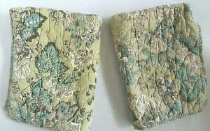 "Vintage Pr Pottery Barn Shams Neena Botanical Quilted Blue & Tan 20"" x 26"""