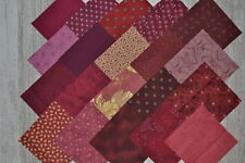 lot de 20 coupons de tissu patchwork bordeaux /grenat