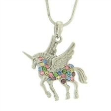 "W Swarovski Crystal UNICORN Flying Pegasus Multicolor Pendant Necklace 18"" Chain"