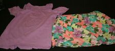 New Carter's 14 Year Girls 2 Piece Outfit Set Purple Top & Floral Skort Skirt