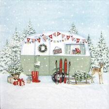 4x Paper Napkins for Decoupage Craft, Party - Christmas Caravan