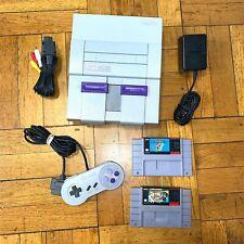 Super Nintendo SNES Console OEM Brand Complete Set + w/ Mario World & All Stars