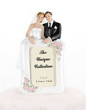 Photo Holder Frame Cake Topper  - Bride & Groom Wedding Couple Cake Topper