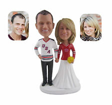 Personalized Polyresin Hockey Bobbblehead 7 inches Wedding Cake Toppers
