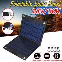 50W Pieghevole Pannello Solare Caricatore Esterno Campeggio Dual USB Output 18V