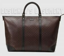 GUCCI espresso brown DIAMANTE Medium Zip-top TOTE carry bag NWT Authentic $1390!